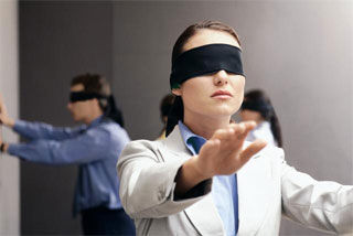 blindfold office game